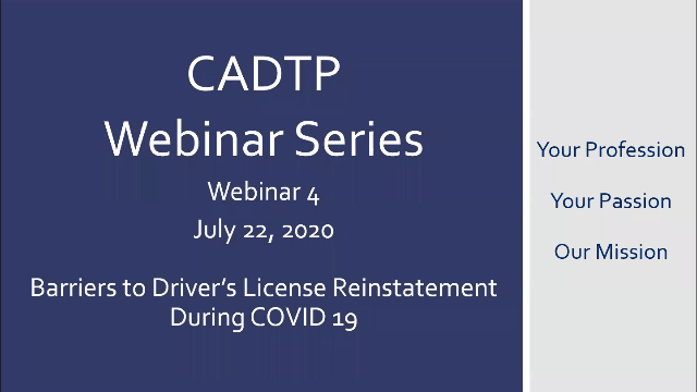 CADTP Webinar Series