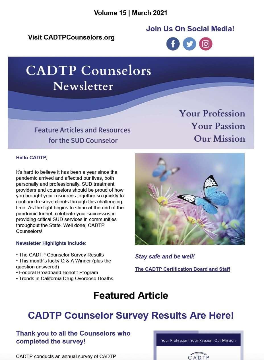 CADTP Counselor Newsletter